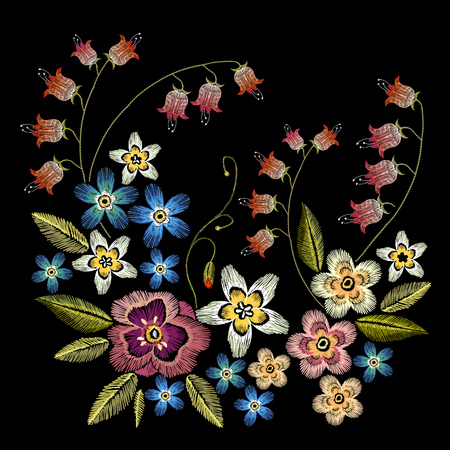 Embroidery flowers vector illustration