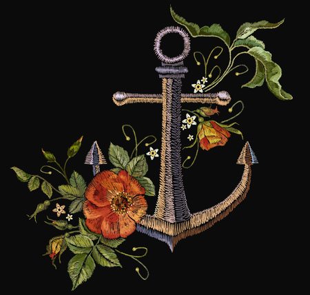 Anchor and red roses embroidery 일러스트
