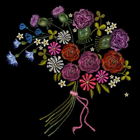 Embroidery bouquet of summer flowers 일러스트