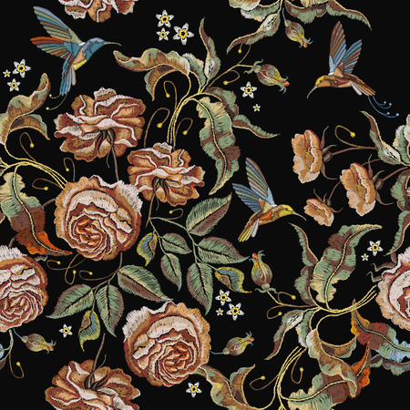 Roses embroidery seamless pattern 일러스트