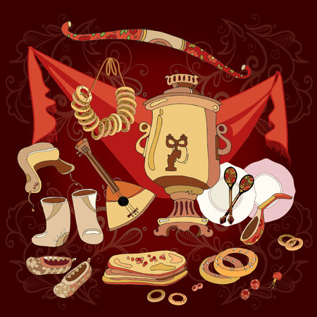 Traditional Russian cuisine and culture vector