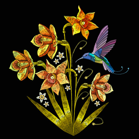 Embroidery humming bird and narcissus vector