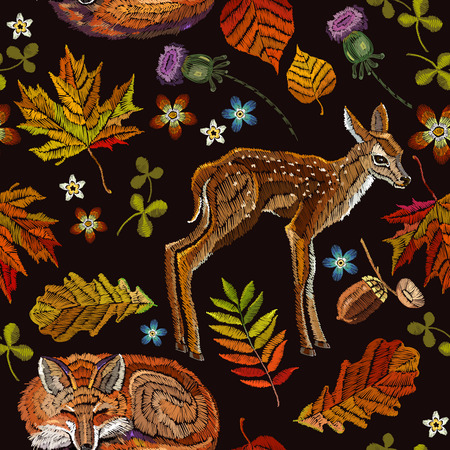 Embroidery deer and fox, autumn seamless pattern 일러스트
