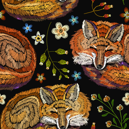 Embroidery sleeping fox and flowers seamless pattern. Fashionable template for design of clothes. Classical embroidery seamless background. Red fox sleeping in flowers 일러스트