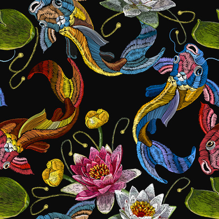 Embroidery koi fish and water lily seamless pattern. Classical embroidery koi carp, pink and white lotuses and water lilies, template fashionable seamless pattern clothes, t-shirt design vector