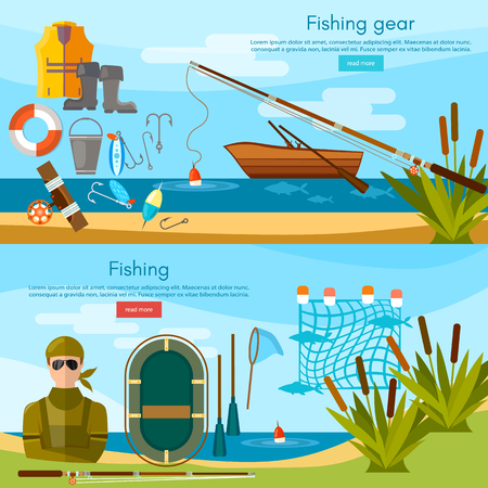 Summer fishing banner, fisher elements vector template. Professional fishing set fishing rod, hooks, bait, fish, worms, fisher equipment vector flat illustration Illustration