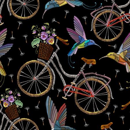 Broderie vélo violettes fleurs et jacquard sans soudure oiseaux. Vélo à broder motif à la mode d'été bourdonnement oiseau et violets art romantique, vêtements de modèle