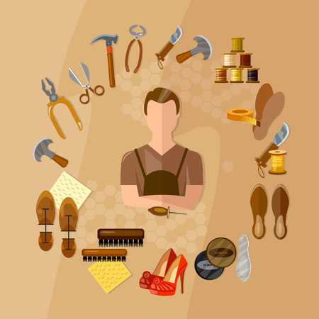 Shoemaker concept professional equipment cobbler shoe repair shoe care shoemaker in the workplace vector illustration
