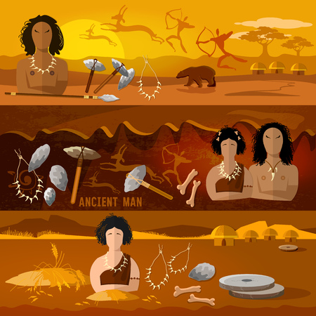 Cave man and cave woman banner. Stone age, neanderthal family in a cave, prehistoric tool. Neolithic, paleolith, mesolith, beginning of a civilization. Caveman art