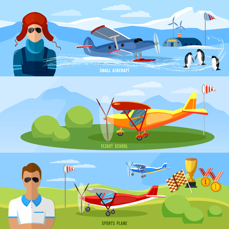 Flight on biplane banners,competitions of airplanes and biplanes, excursion flights, flying school professional pilot vector