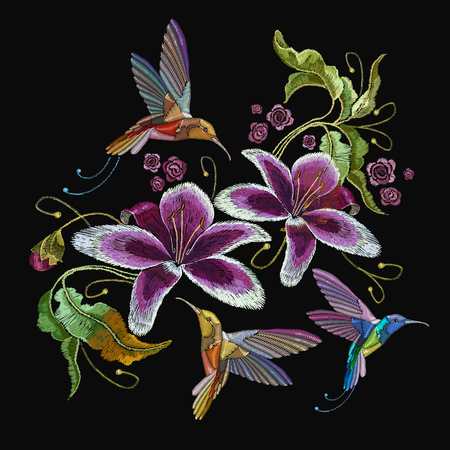 Humming bird and orchid exotic tropical flowers. Beautiful classical embroidery, humming-bird, orchids flowers. Template for clothes, embroideries, t-shirt design 일러스트
