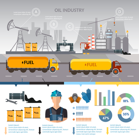 Oil industry infographics vector, extraction and processing products transportation of oil oilman works 일러스트