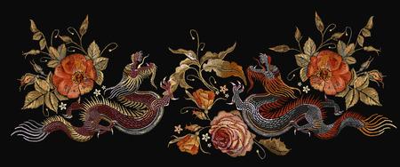 Bordado dos dragones chinos y flores de rosas. Dragones asiáticos del bordado clásico y vector hermoso de las rosas rojas. Diseño de camiseta de dragones de arte. Ropa, plantilla de diseño textil