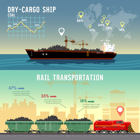 Logistics banner Cargo transportation. Delivery by railway lines. Tanker, cargo ship transports coal, sand. Logistics and transportation 일러스트
