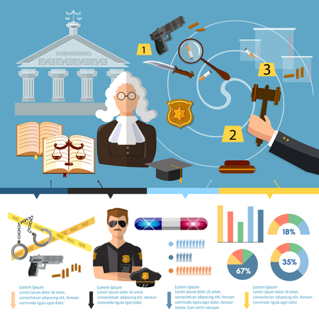 Justice system infographics. Law infographics set with court and judical system elements vector illustration. Courthouse, crime and punishment