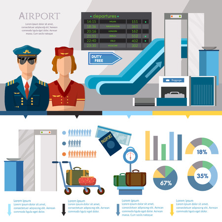 Airport infographics international airlines banner. Airport set terminal aircraft runway airline pilot stewardess baggage inspection scanner vector