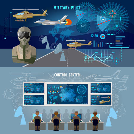 Modern military center banner. Radar screen with planes air force pilot. Modern army technology. Military plane, helicopter