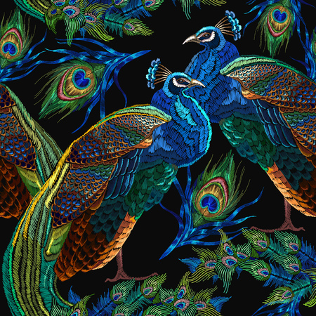 Embroidery peacocks seamless pattern. Classical fashionable embroidery beautiful peacocks. Fashionable template for design of clothes. Tails of peacocks