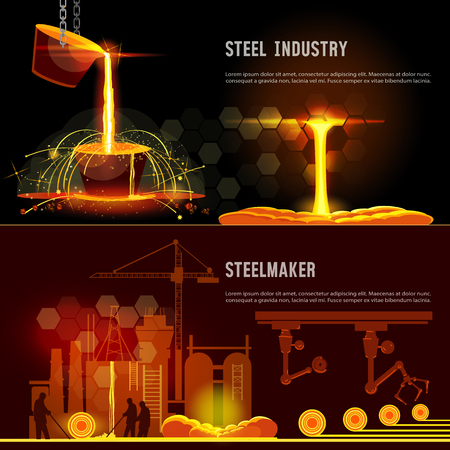 Steel industry banner. Hot steel pouring in steel plant. Smelting of metal in big foundry. Iron and factory workshop. Steel worker. Metallurgy process Reklamní fotografie - 88031932