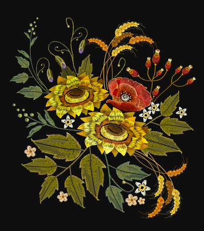 Embroidery sunflowers, roses, flowers, wheat. Beautiful bouquet embroidery. Template for clothes, textiles, spring flowers vector, t-shirt design 일러스트