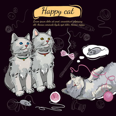 Beautiful and funny kittens. Template for cat food, veterinary clinic. Cheerful kittens, happy cat dreams of a mouse 일러스트