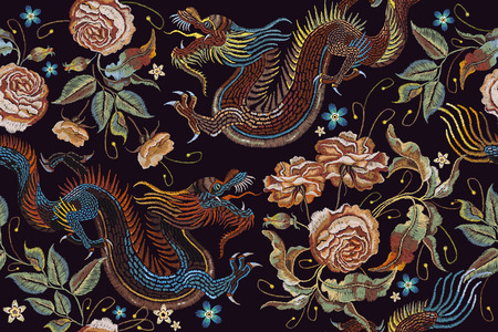 Embroidery vintage chinese dragons and flowers peonies seamless pattern. Classical embroidery asian dragons and beautiful peonies seamless pattern. Art dragons t-shirt design. Clothes, textile art 일러스트