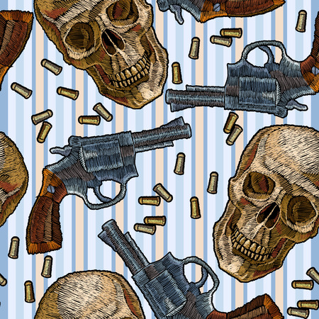 Embroidery skulls and guns seamless pattern, blue stripes. Wild west embroidery old revolvers and human skulls, gangster gothic background