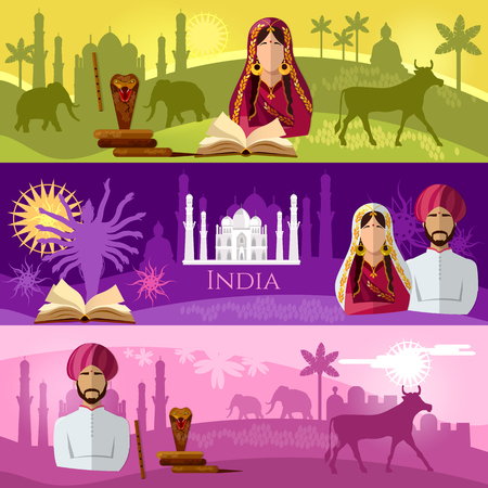 Travel to India banner. Taj mahal, elephants, saris, gods, Hinduism. illustration of India background set. Culture, traditions, attractions and people of India