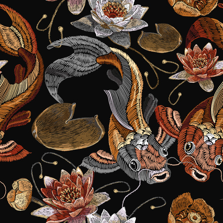 Embroidery vintage koi fish and water lily seamless pattern, japanese pattern. Classical embroidery koi carp, pink and white lotuses and water lilies, vintage template clothes, t-shirt design Illustration