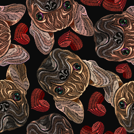 Embroidery bulldog and red hearts seamless pattern. Fashion embroidery hearts and french bulldog dog, love romantic background. Design of clothes, t-shirt design Stock Illustratie