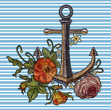 Anchor red roses and peonies embroidery.  template for clothes, textile t-shirt design fashion sea arrt. Classical fashionable embroidery vintage anchor, beautiful red bouquets of roses and peonies