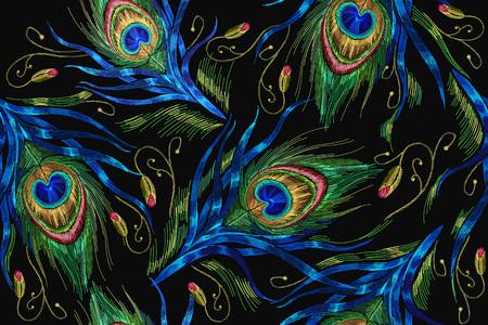 Motif sans couture de plumes de paon de broderie. Broderie à la mode classique de belles plumes de paon. Modèle à la mode pour la conception de vêtements. Queues de paons vector