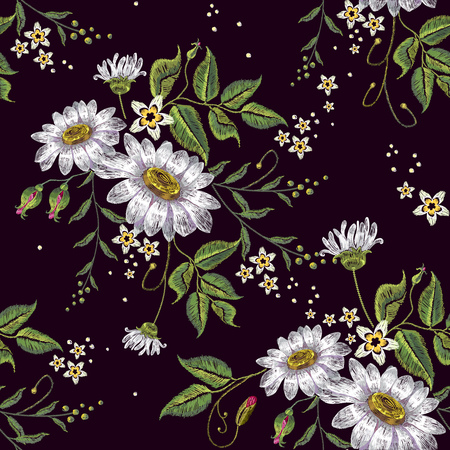 Chamomiles embroidery seamless pattern. Beautiful white chamomiles on black background. Template for clothes, textiles, spring flowers vector, t-shirt design 일러스트