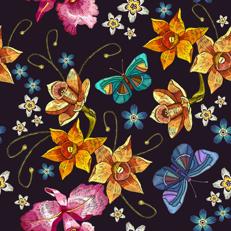Embroidery narcissus flowers and summer butterflies seamless pattern. Classical embroidery on black background, fashionable tropical template for design of clothes, t-shirt design Illustration
