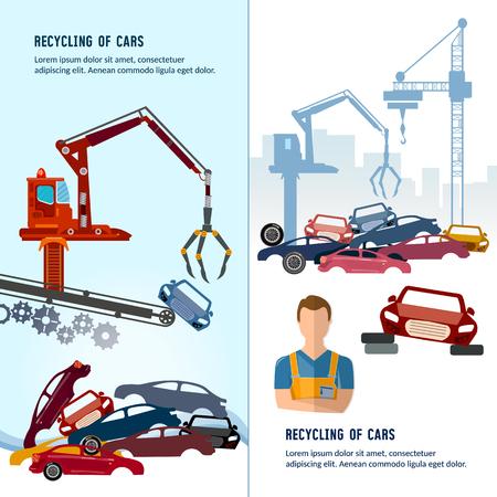 Car scrap metal dump vector. Car recycling banner. Industrial crane claw grabbing old car for recycling metal, utilization of cars. Recycling industrial factory