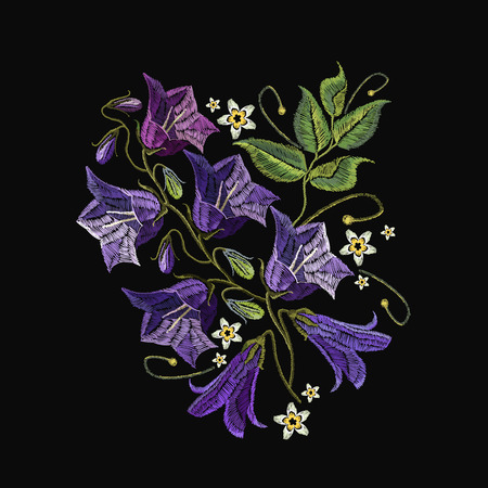 Embroidery violet flowers bells. Fashionable template for design of clothes. Beautiful cornflowers, classical embroidery vector
