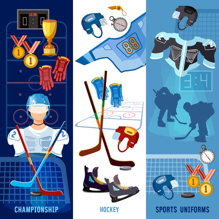 Hockey team, sport uniform. World ice hockey championship, players shoots the puck and attacks, signs and symbols elements of professional hockey banner