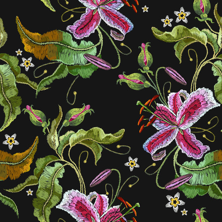 Embroidery orchid exotic tropical flowers. Beautiful classical embroidery, summer orchids flowers. Template for clothes, embroideries, t-shirt design Stock Illustratie
