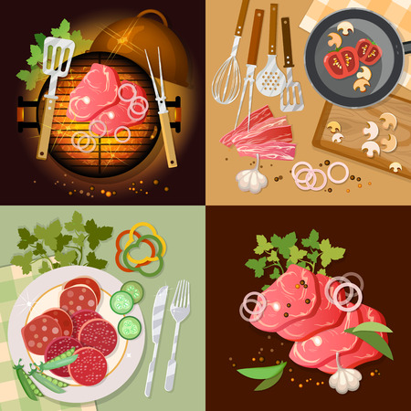 Barbecue top view set, bbq grill, party grilled meat vector illustration.