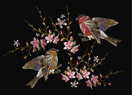 Embroidery birds and blossoming cherry vector. Classical embroidery bullfinch and titmouse on branch blossoming sakura.