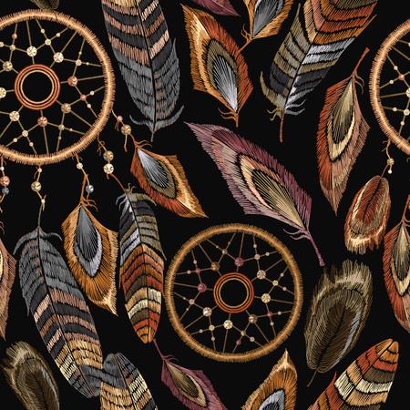 Embroidery dreamcatcher boho seamless pattern.  Native american Indian talisman dreamcatcher. 일러스트