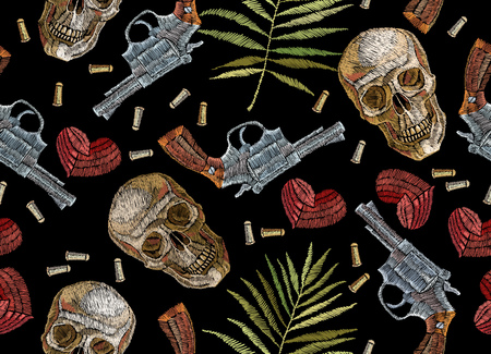 Embroidery skulls, tropical palm leaves hearts and guns seamless pattern.