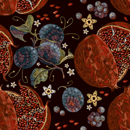 Embroidery vintage pomegranate and blossoming plum seamless pattern. Template clothes, t-shirt design and textile design. Stock Illustratie