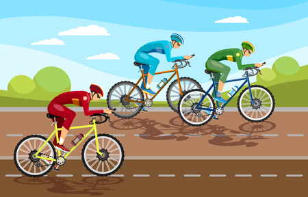Cycle racing people on bicycles. Group of cyclists man in road, sport background. Stock Illustratie