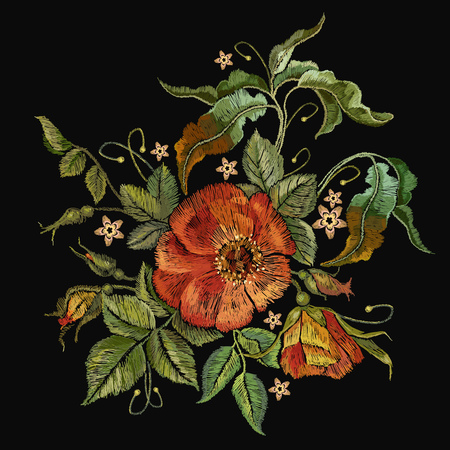 Classic style embroidery, beautiful dogrose pattern vector. Vintage buds of wild roses on black background. Stock Illustratie