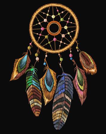Embroidery dreamcatcher boho native american Indian talisman dreamcatcher.