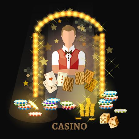 카지노 벡터에 오신 것을 환영합니다. 카지노 세트, 포커 게임 카드 슬롯. 스톡 콘텐츠 - 88293885