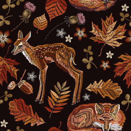 Embroidery deer and fox, autumn seamless pattern. Fashionable template for design of clothes.