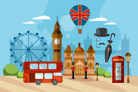 London-Stadt-Skyline, London Vereinigtes Königreich. Reise- und Tourismushintergrund.