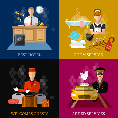A hotel service set, hotel staff reception reservation morning call cleaning, vector illustration.